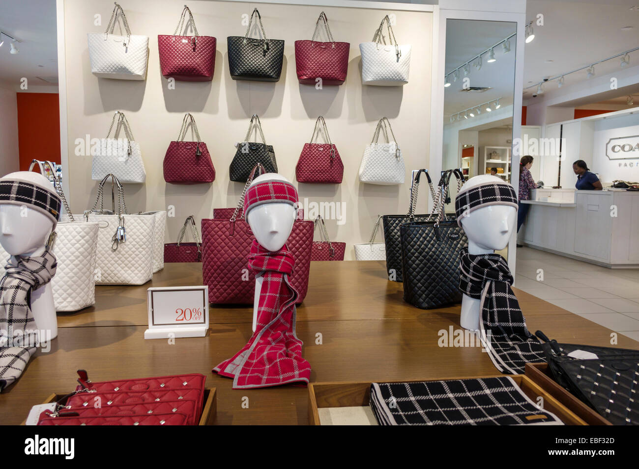 786199f020 Orlando Florida Premium Outlets shopping Coach Factory leather goods  display sale women s handbags inside scarves