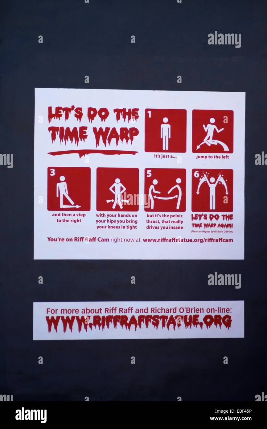 'Let's do the Time Warp' Instructions accompanying the Riff Raff Statue to commemorate The Rocky Horror - Stock Image