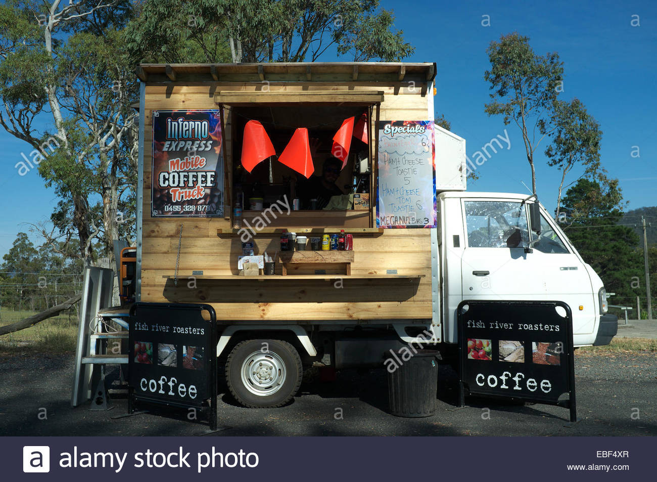 Mobile coffee truck - the 'Inferno Express', in a lay-by on the Great Western Highway, near Lithgow, NSW, Australia. Stock Photo