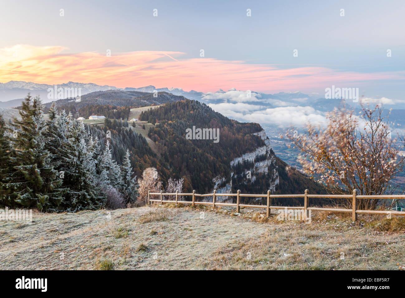 Viewpoint of Le Revard, Massif des Bauges, Savoie, Rhône-Alpes, France - Stock Image