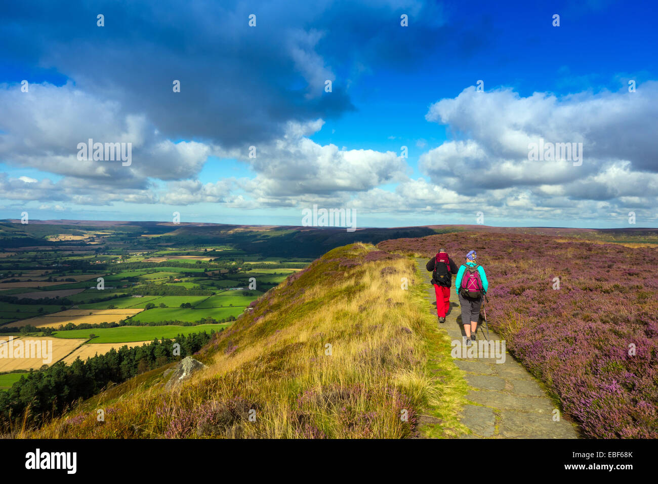 Walkers on Cleveland Way, North York Moors - Stock Image