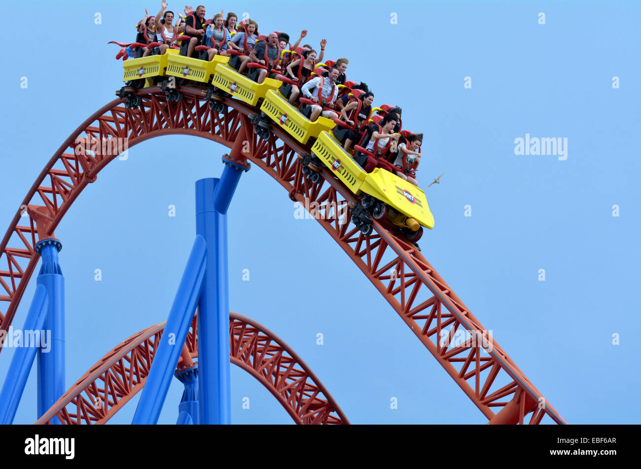 Gold Coast Aus Nov 06 2014visitors Ride On Superman Escape In