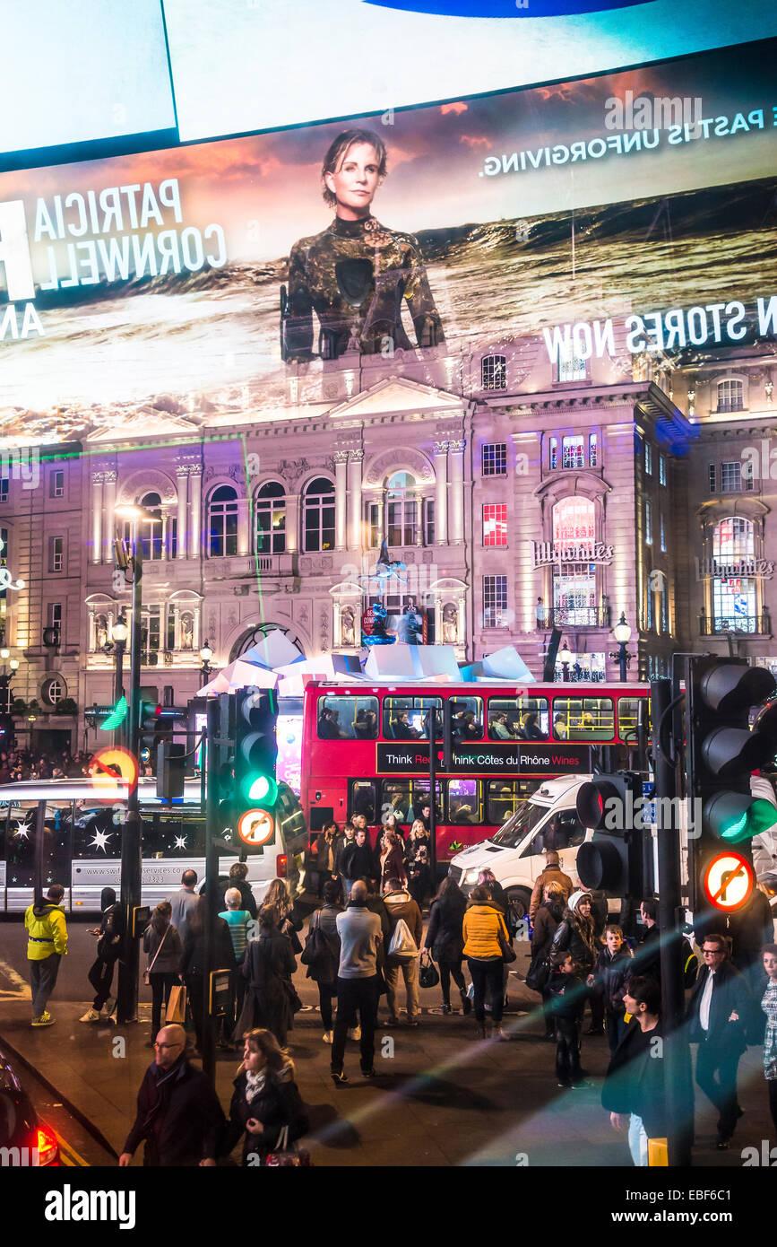 Piccadilly Circus at Christmas time, London, England, UK - Stock Image