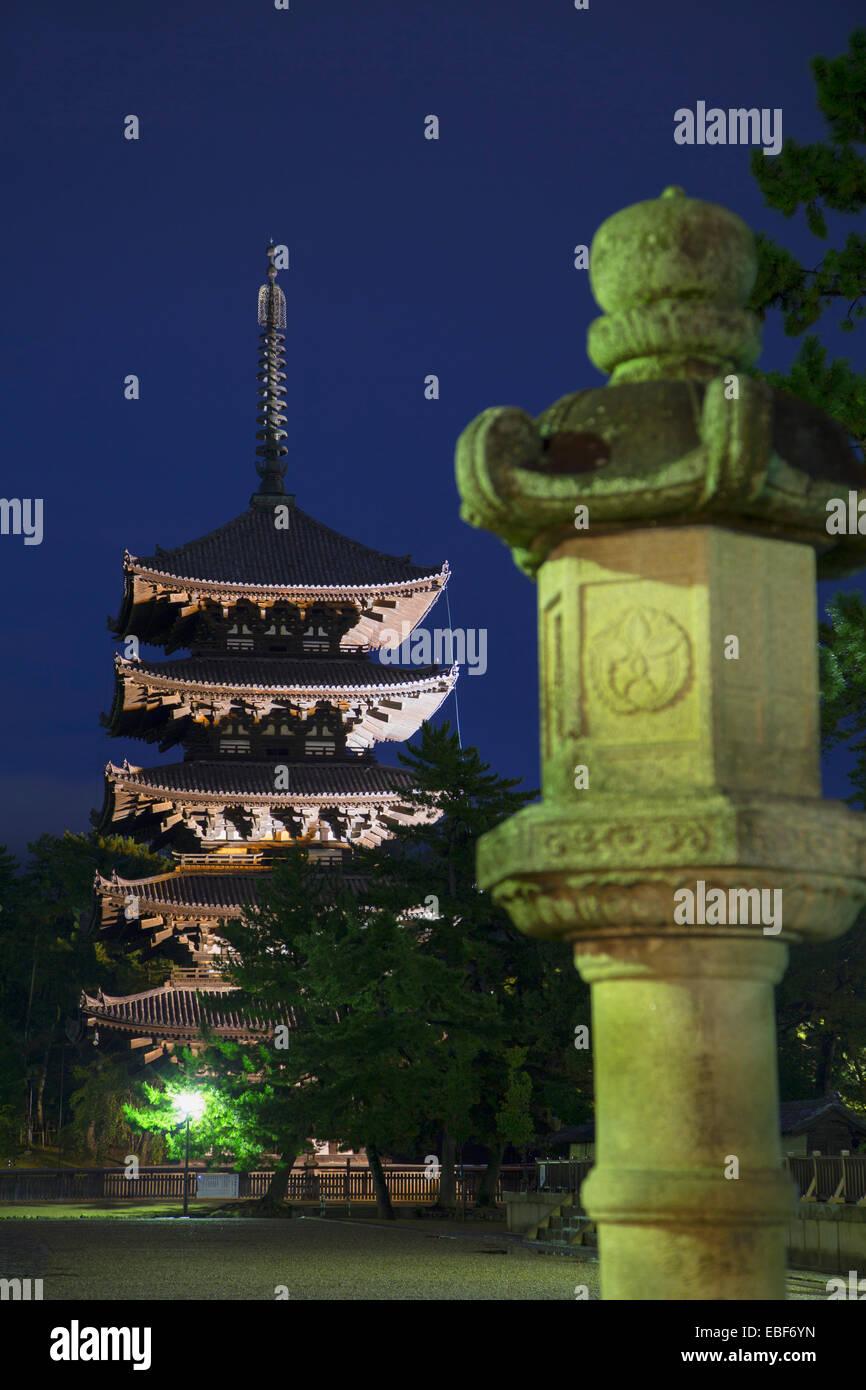 Pagoda at Kofuku-ji Temple (UNESCO World Heritage Site) at dusk, Nara, Kansai, Japan - Stock Image