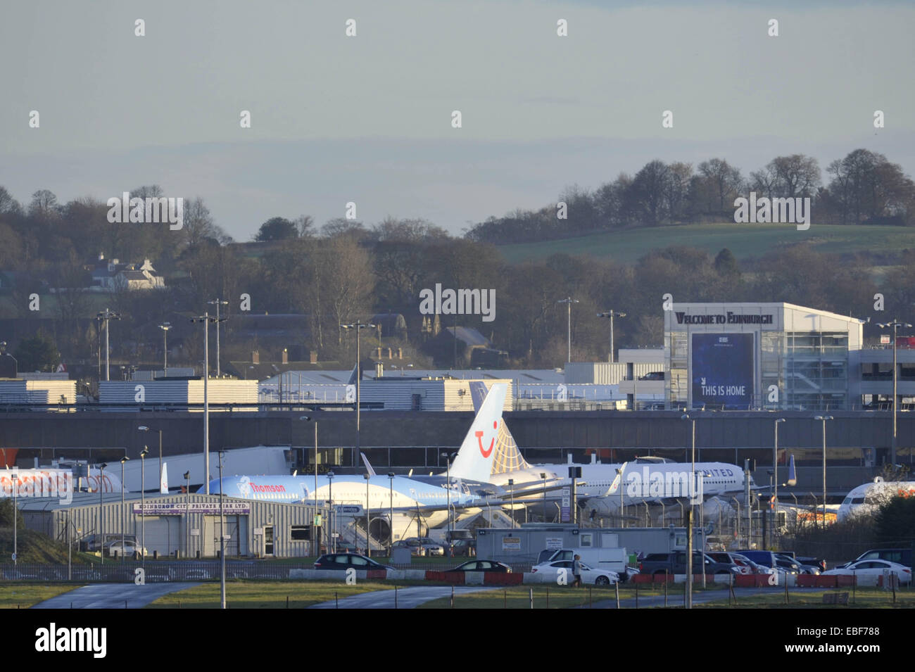 Edinburgh, UK. 30th November, 2014. Edinburgh Airport reopens after hundred were evacuated. Credit:  Steven Scott - Stock Image