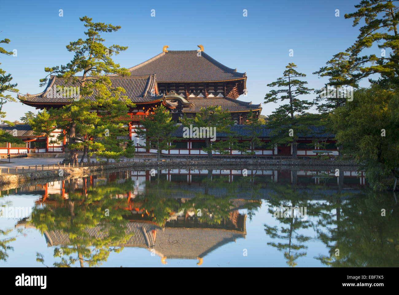 Todaiji Temple (UNESCO World Heritage Site) at dawn, Nara, Kansai, Japan - Stock Image