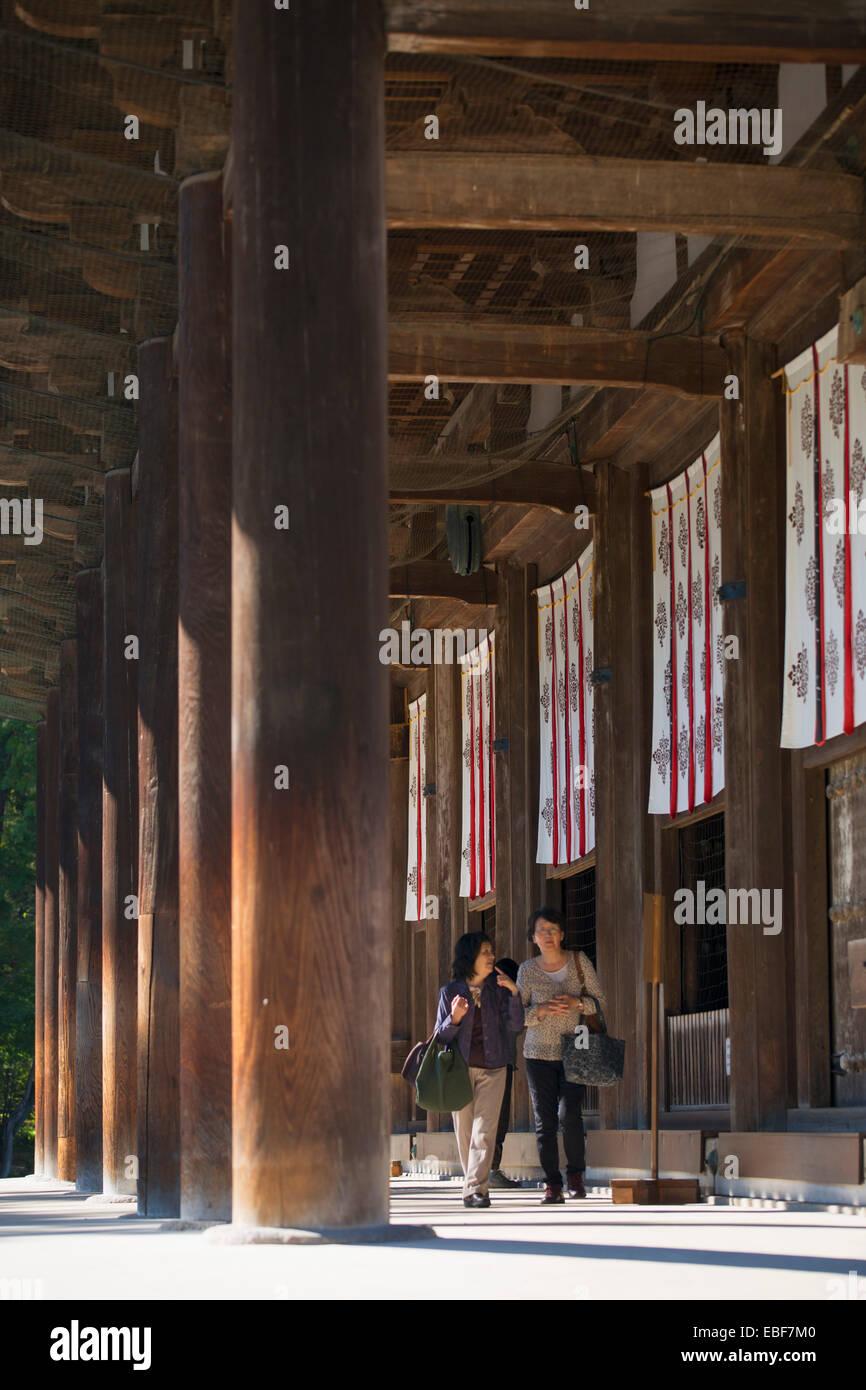 People at Toshodaiji Temple (UNESCO World Heritage Site), Nara, Kansai, Japan - Stock Image