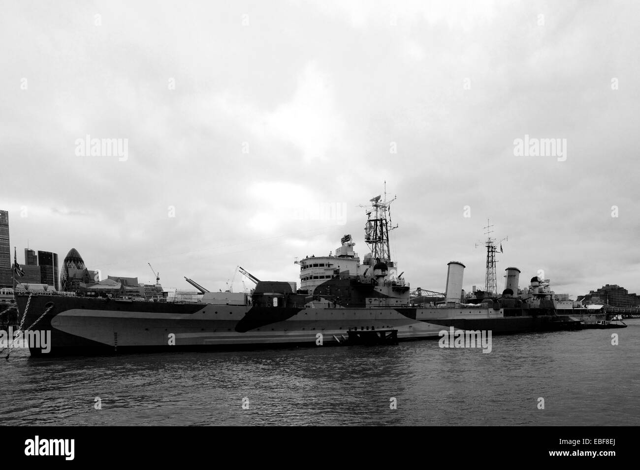 HMS Belfast in Black and White, river Thames, South Bank, London City, England, United Kingdom - Stock Image