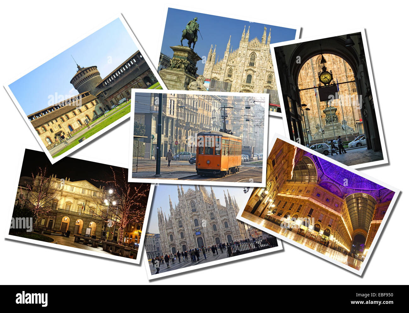 Collage made of postcards of the Milan city, Italy. Isolated on white background - Stock Image