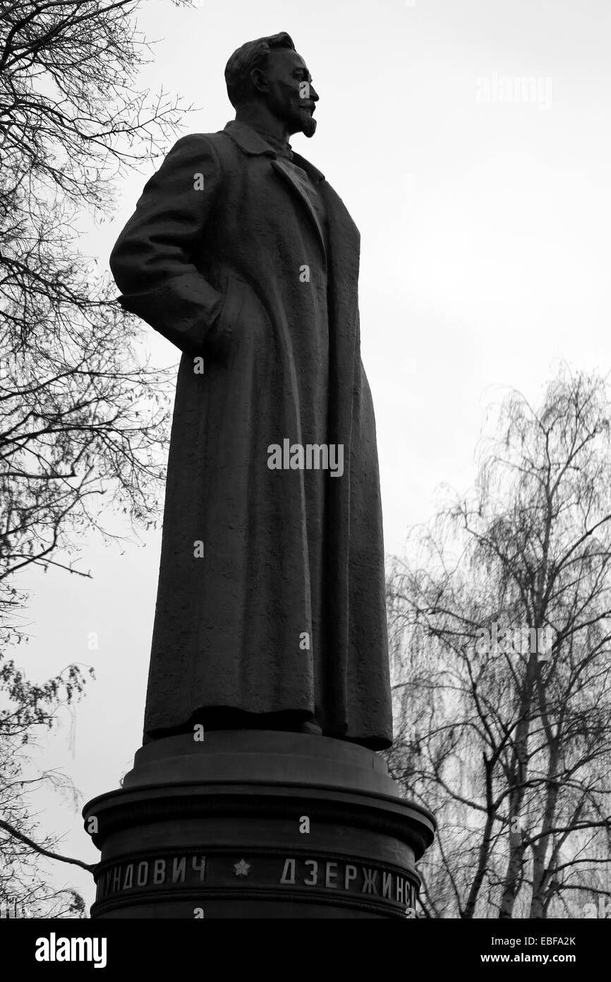Statue of Felix Dzerzhinsky in the park is photographed close-up - Stock Image
