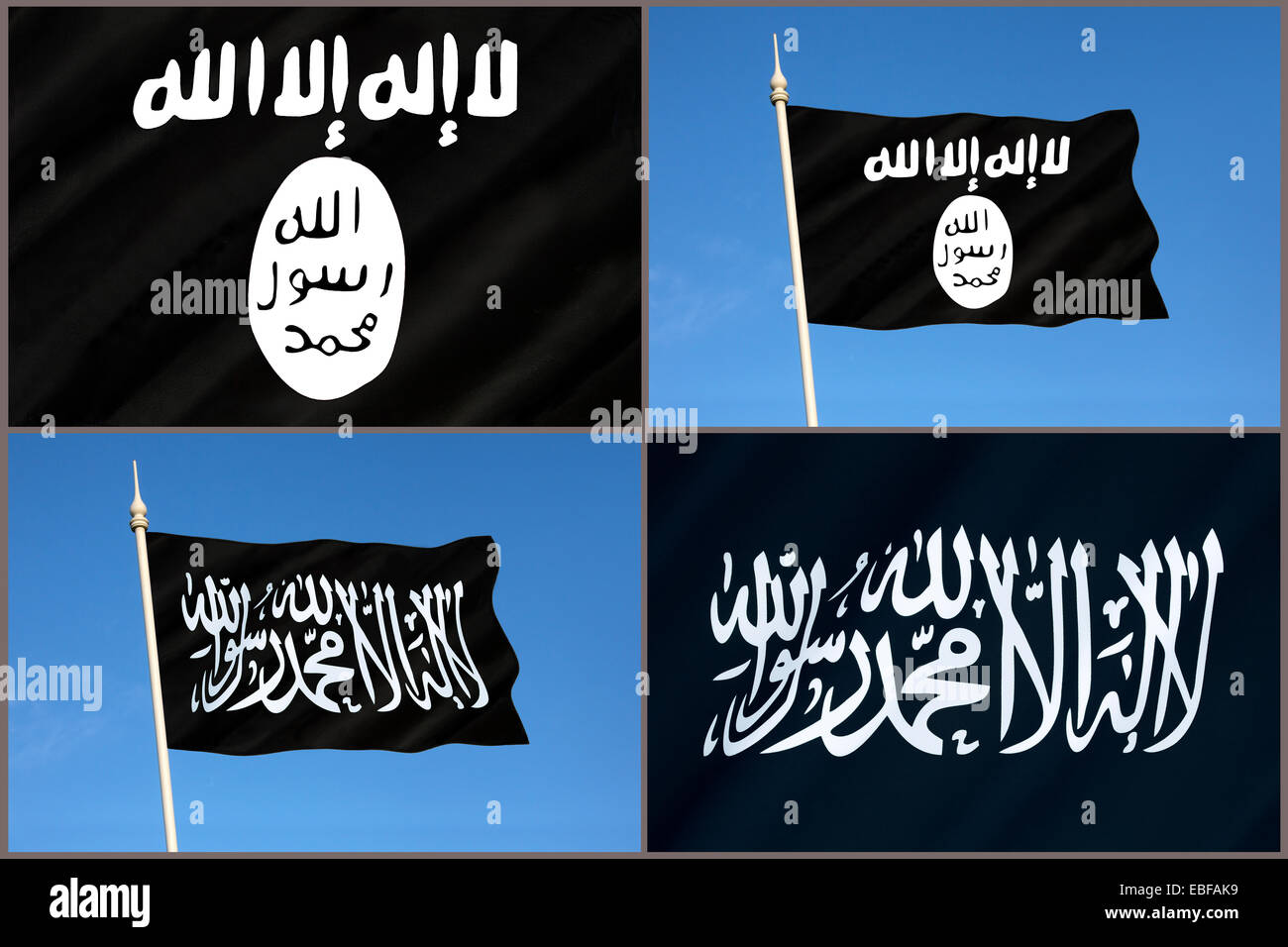 Flags of Al-Qaeda and Islamic State (ISIS or ISIL) Stock Photo