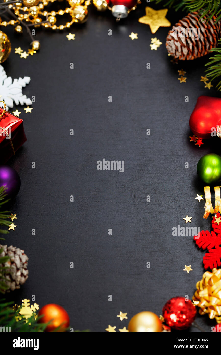 Christmas frame with free space for text - Stock Image