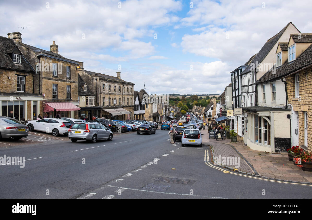 View down the High Street Burford Oxfordshire England - Stock Image