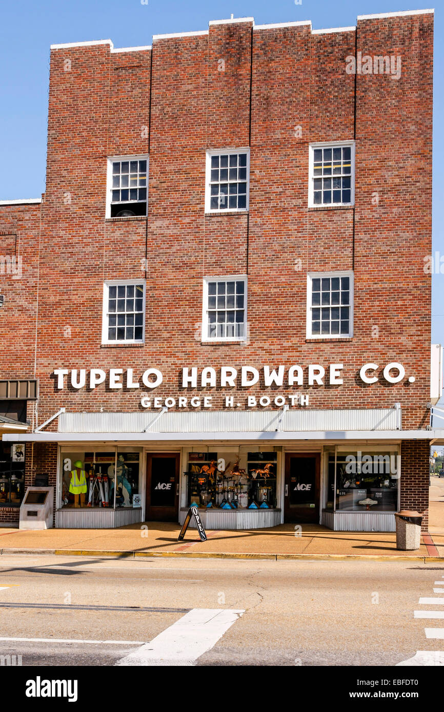 Tupelo Hardware Store MS. The place where Elvis was bought his first guitar by his mother. - Stock Image