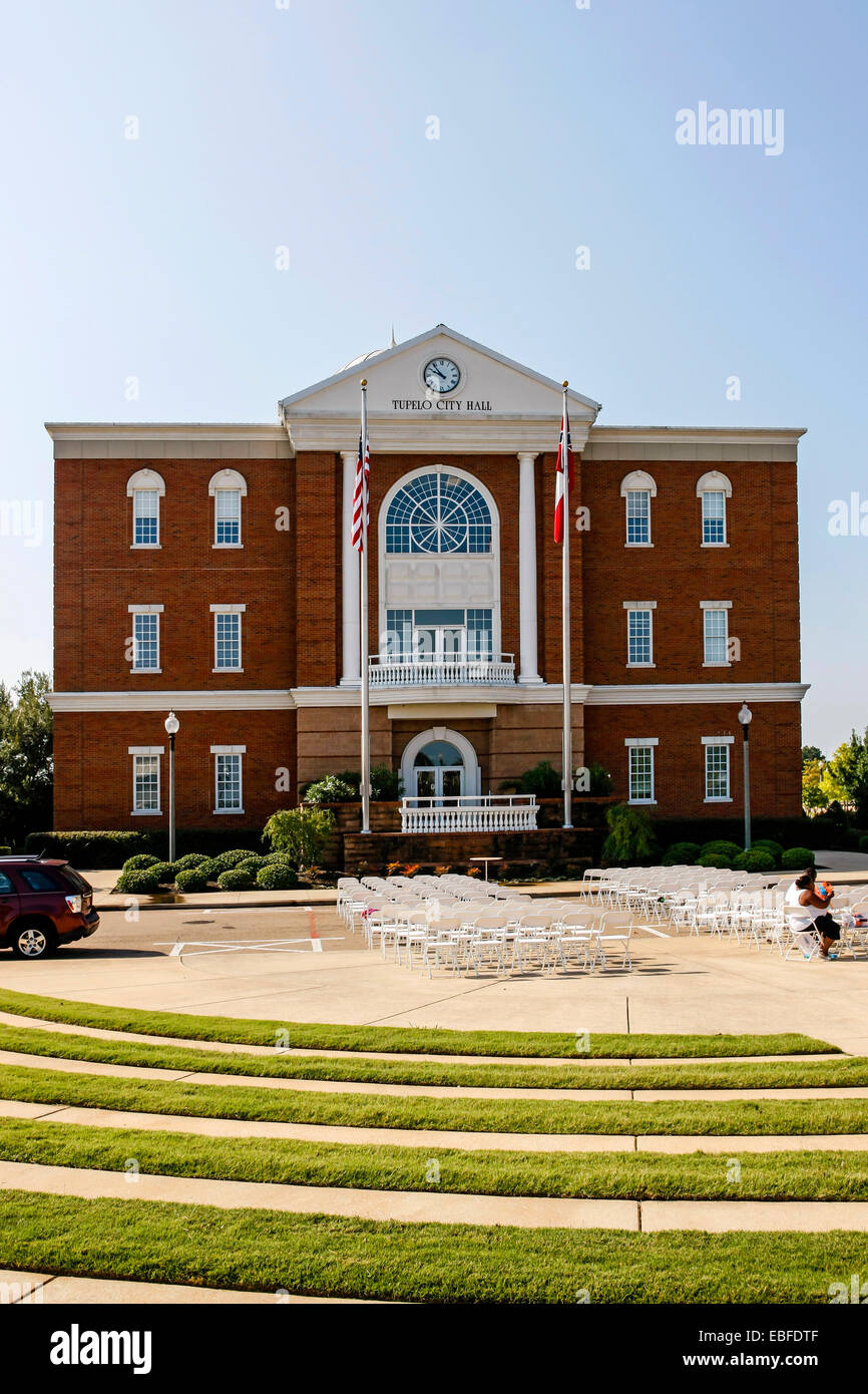 Tupelo City Hall building. Built on the site of the 1956 Mississippi-Alabama State Fair & Dairy Show - Stock Image