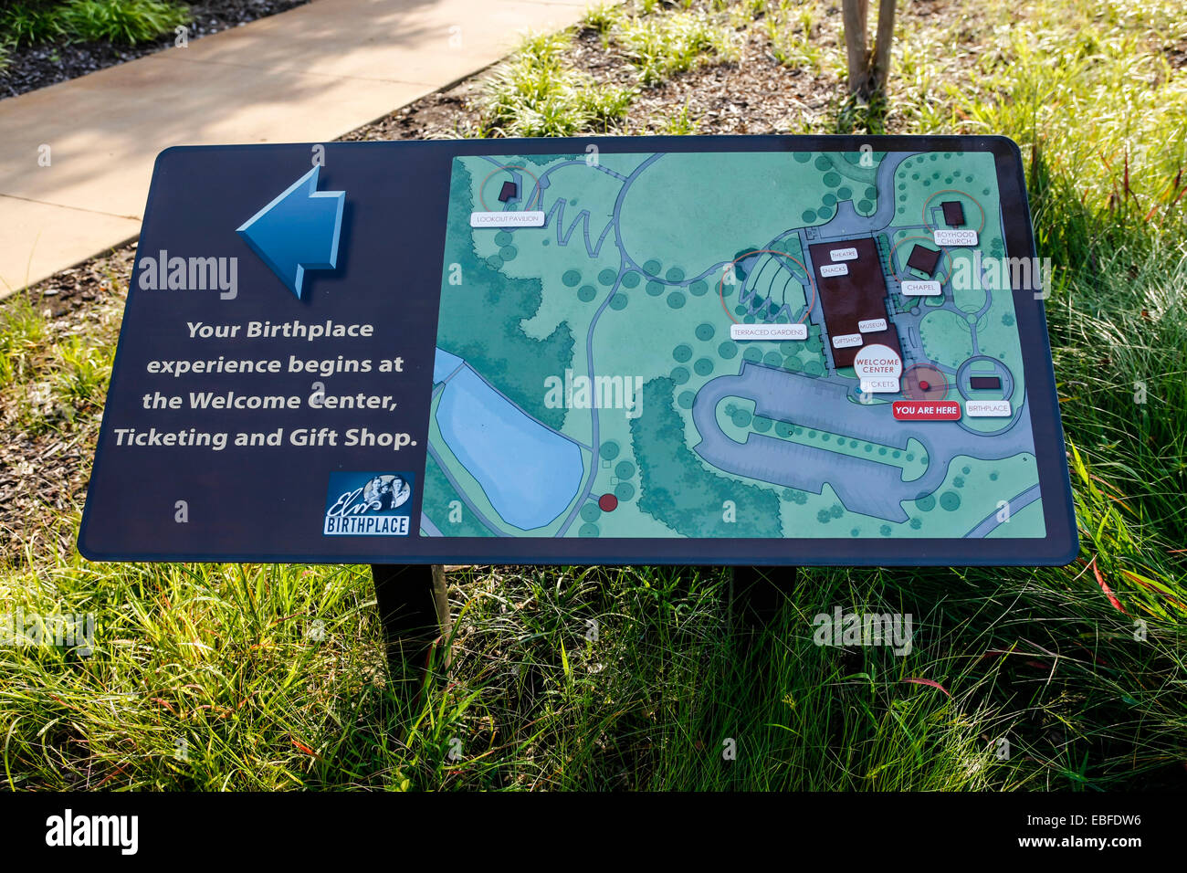 Map of the Elvis Birthplace museum grounds in Tupelo Mississippi - Stock Image