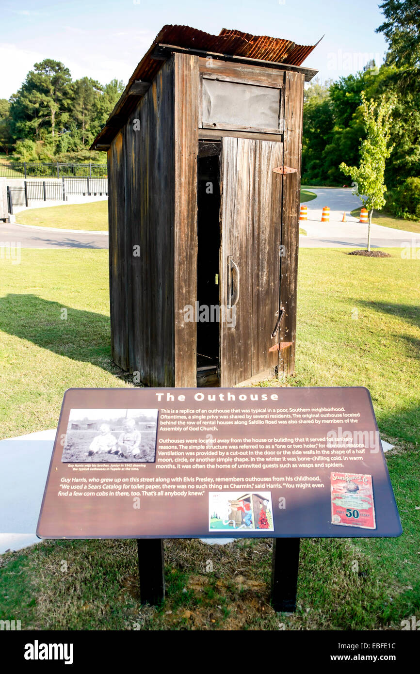 Elvis Presley's family outhouse, saved for posterity by museum in Tupelo MS - Stock Image