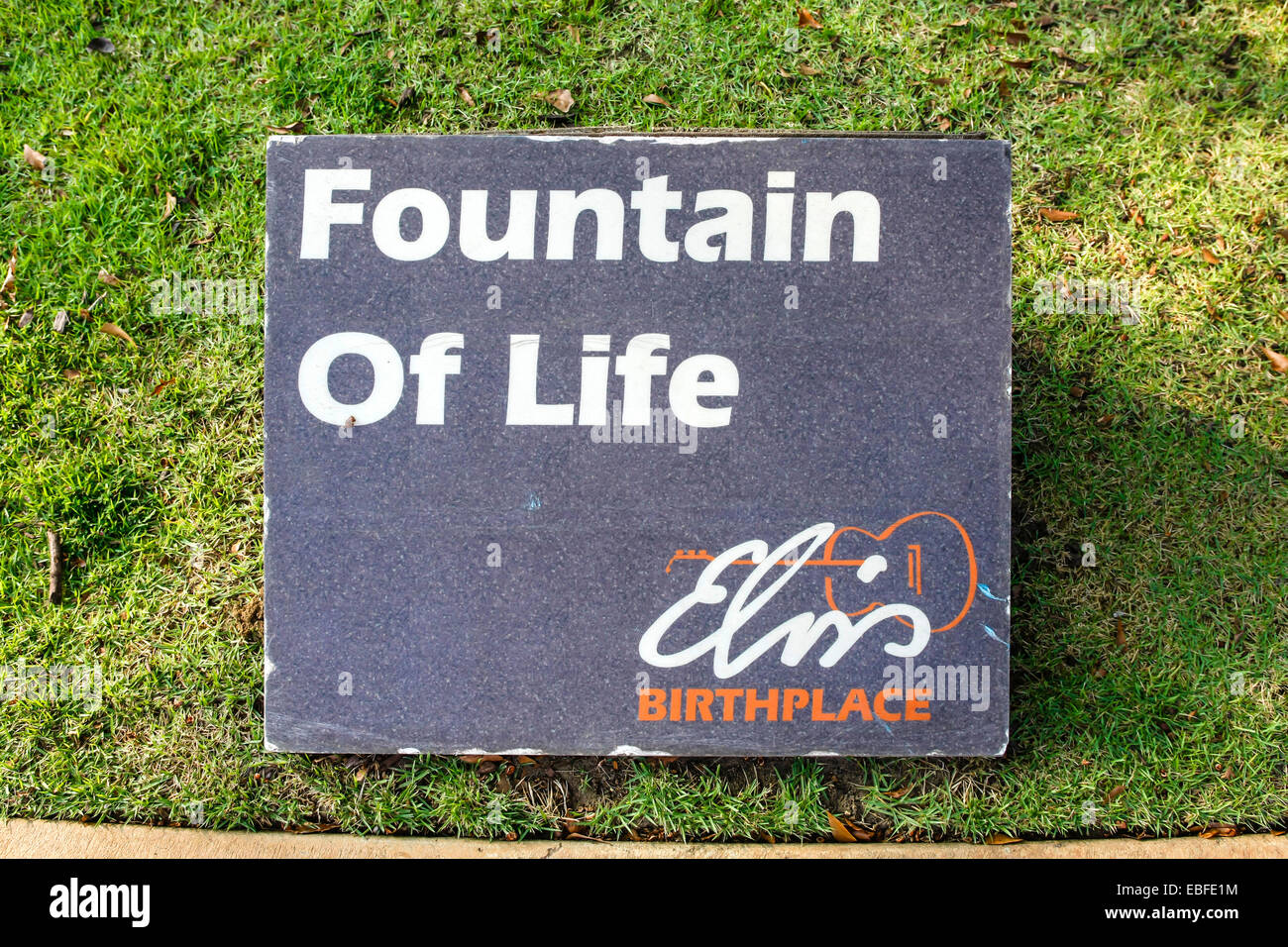 The Elvis Presley Fountain of Life sign at his birthplace museum in Tupelo MS - Stock Image
