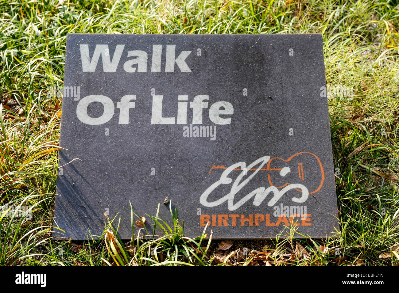 The Elvis Presley Walk of Life sign at his birthplace museum in Tupelo MS - Stock Image