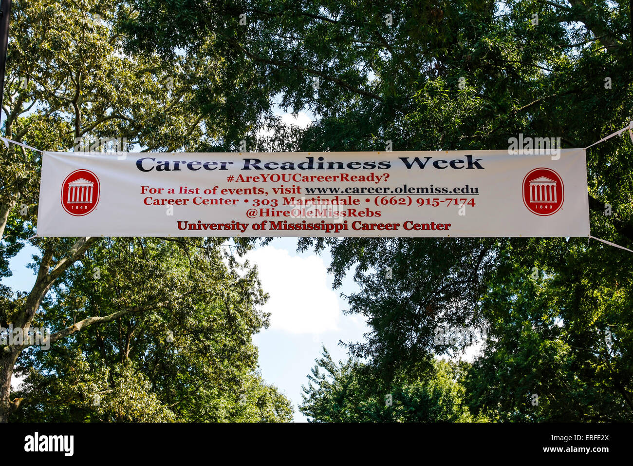 Overhead sign - Career Readiness Week hanging in the 'Ole Miss' University of Mississippi campus at Oxford - Stock Image