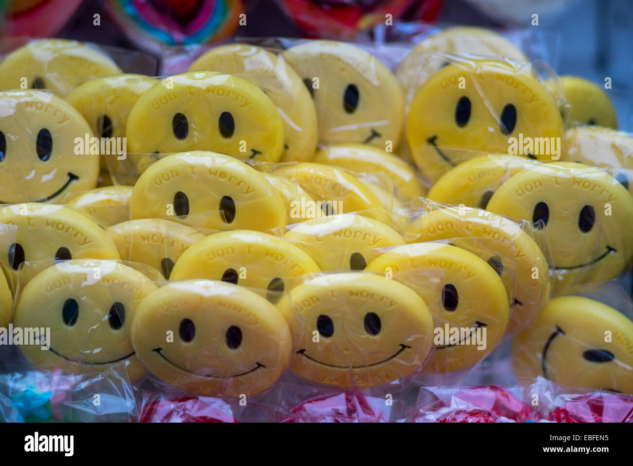 Smile!Be happy!Don't worry!smiling lollipops - Stock Image