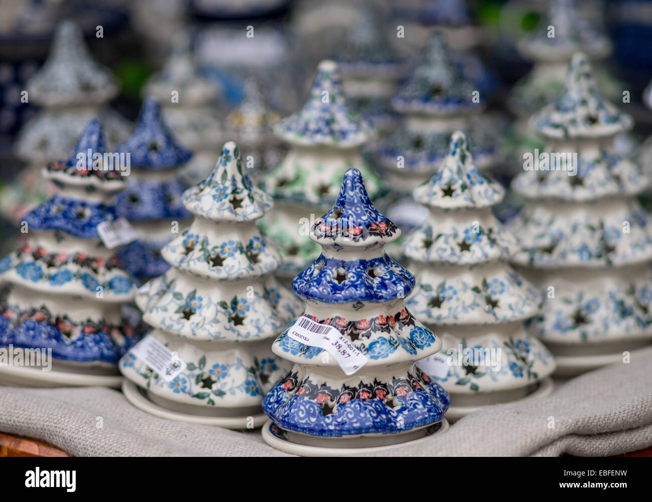 Colourful Ceramic Christmas Trees Pottery Earthenware From Stock