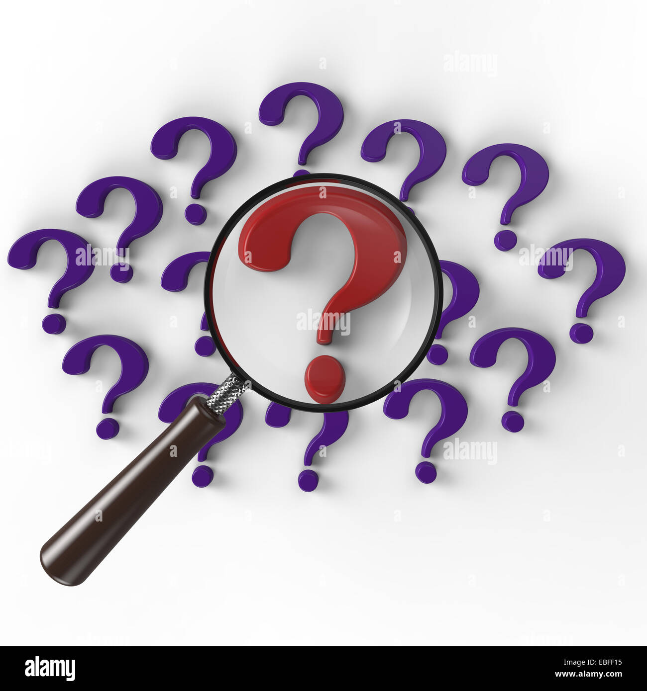 magnifying glass focused on a red question mark on a white background - Stock Image
