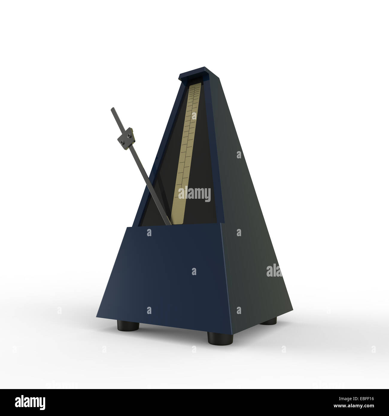 dark blue pyramid shaped wooden metronome on a white background used for music practice to keep the rhythm - Stock Image