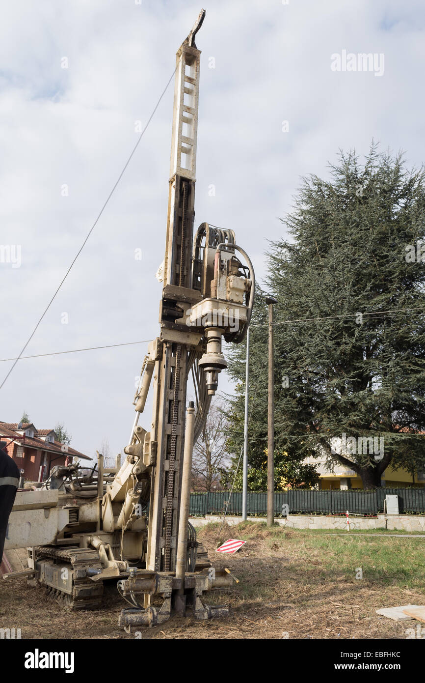 Drilling equipment for geotechnical engineering purpose. - Stock Image