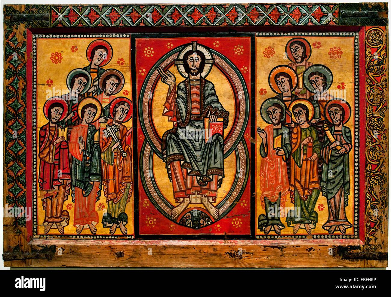 Altar frontal La Seu d'Urgell 'Maiestas Domini' (Christ in Majesty) twelve Apostles Medieval Romanesque - Stock Image