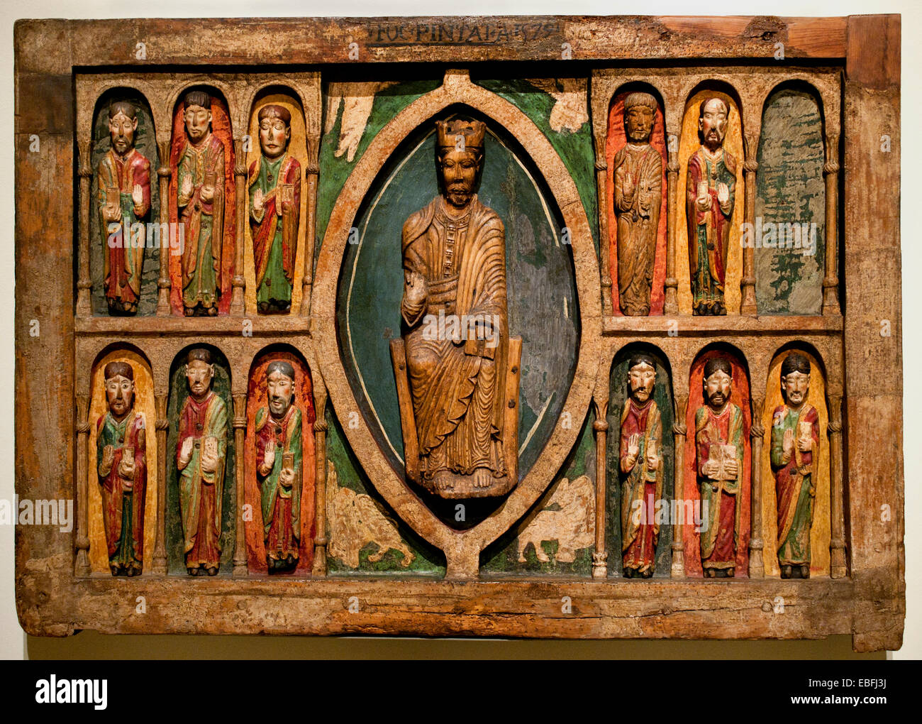 Altar frontal from Santa Maria de Taüll 1200 Medieval Romanesque  (La Vall de Boí, Alta Ribagorça). - Stock Image