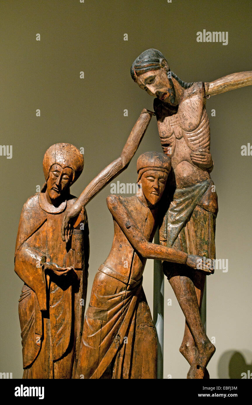Figures of the Descent from the Cross Church of Santa Maria de Taüll ( La Vall de Boí ) Alta Ribagorça - Stock Image