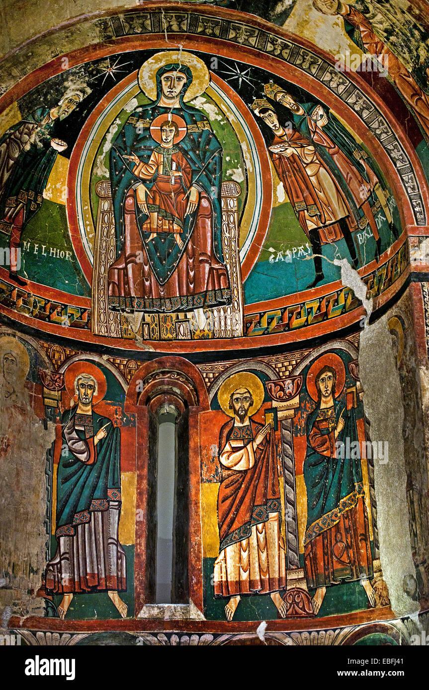 Apse of Santa Maria de Taüll  1123 Church of Santa Maria de Taüll (Vall de Boí, Alta Ribagorça). - Stock Image