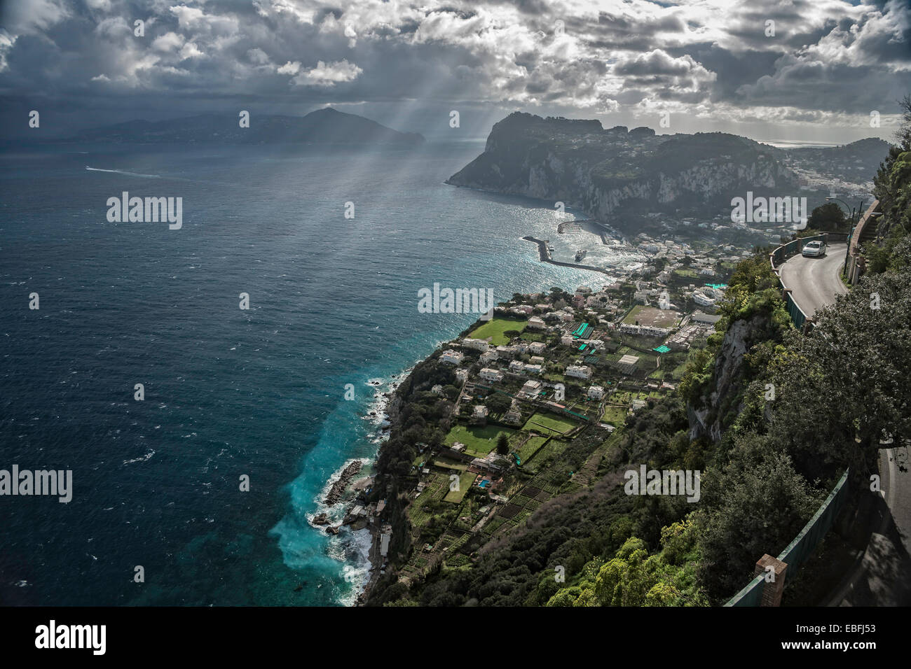 The Island of Capri. Photo is taken from Anacapri. - Stock Image