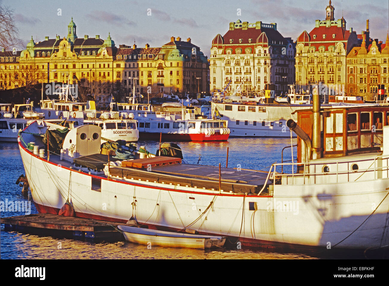 City view with Boats, Nybroviken, Stockholm, Sweden - Stock Image
