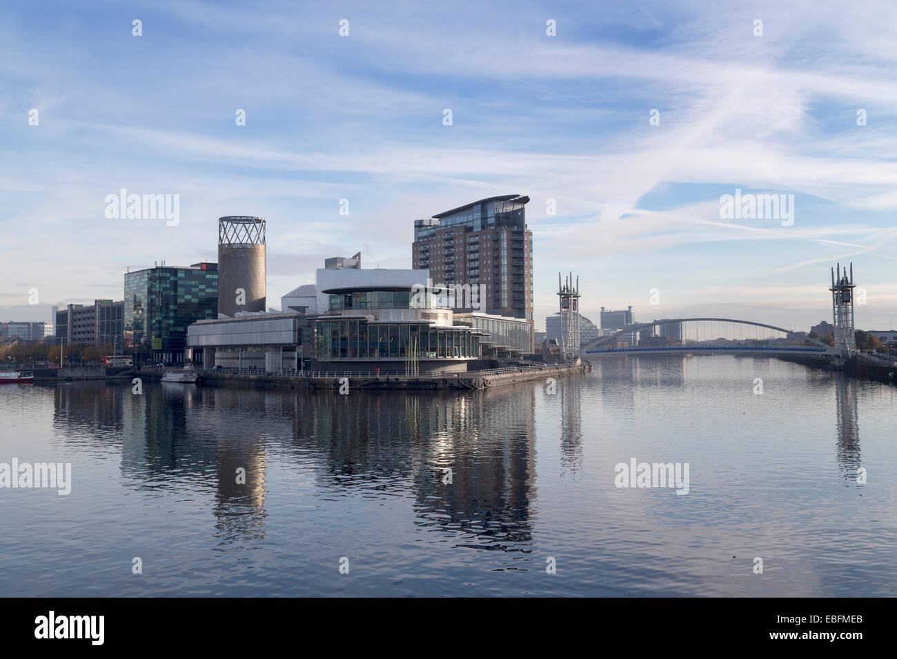 UK, Manchester, view towards the Quays Theatre and Lowry Complex at Salford. - Stock Image