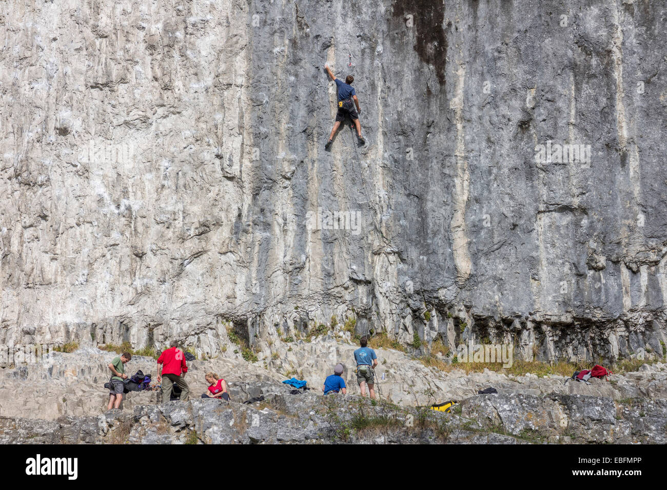 Climbers on Malham Cove, North Yorkshire. - Stock Image