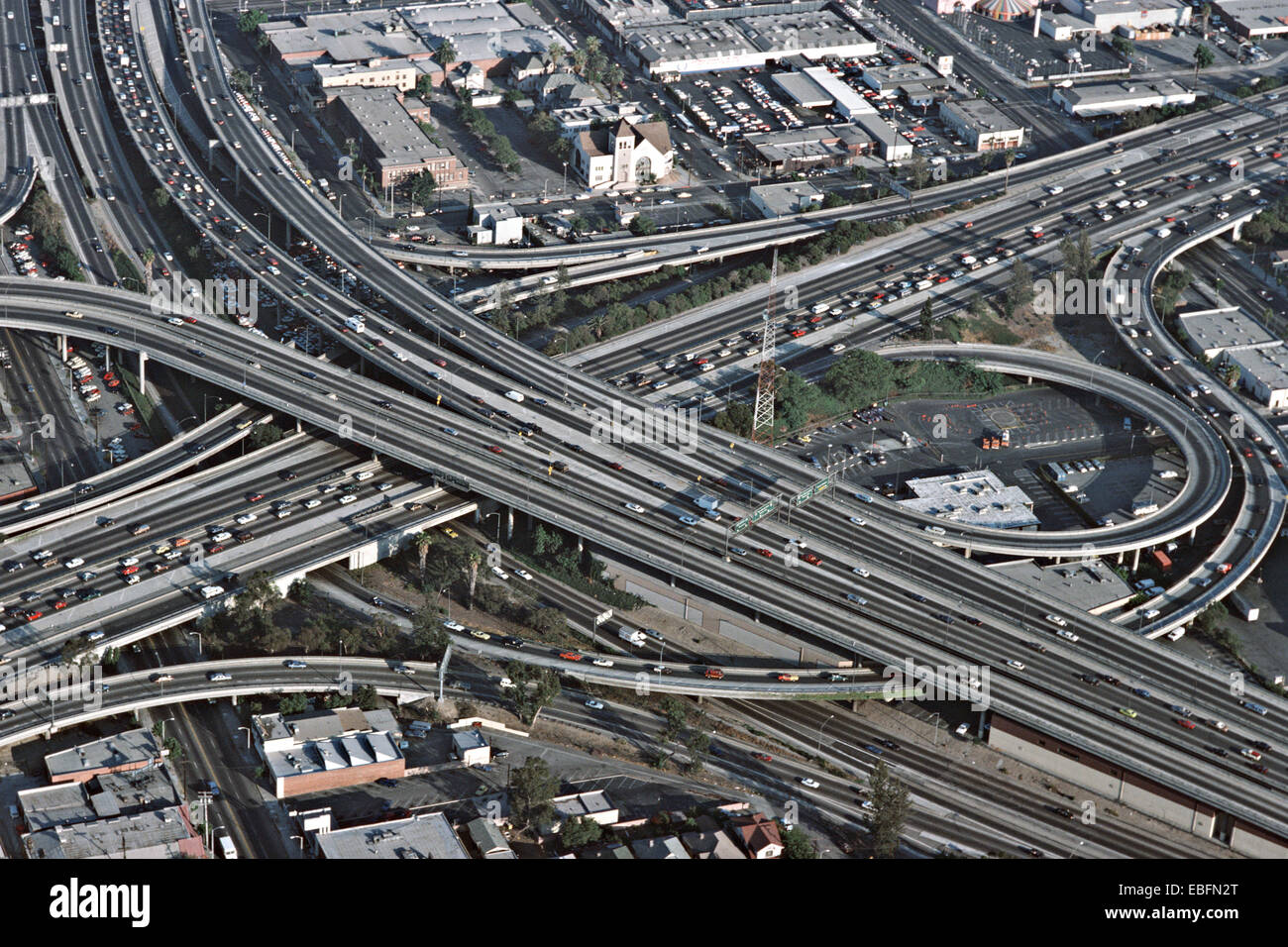 Aerial view of freeways, Los Angeles, California, USA - Stock Image