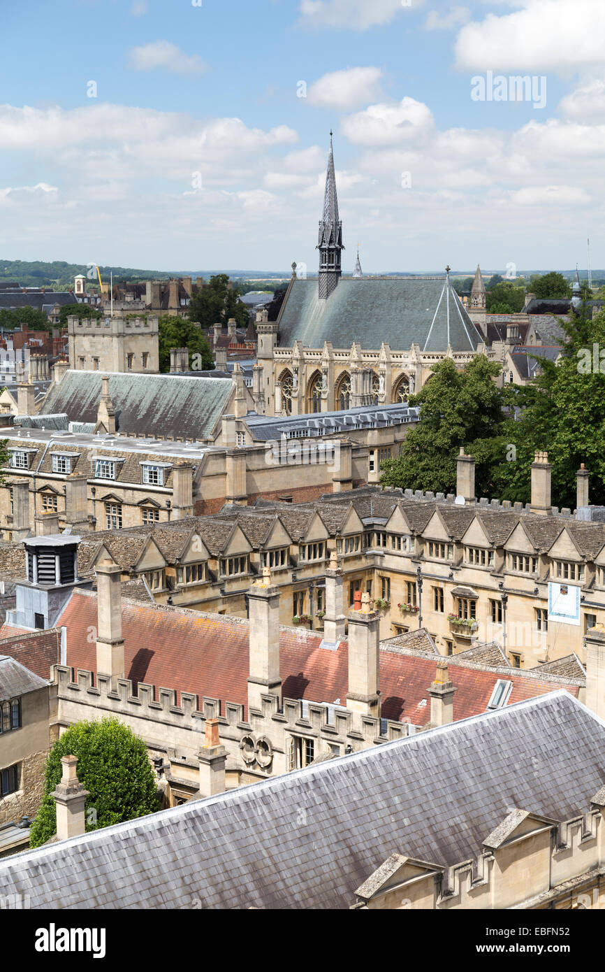 UK, Oxford, view from the University church of St Mary the Virgin , over the college buildings of Brasenose College - Stock Image