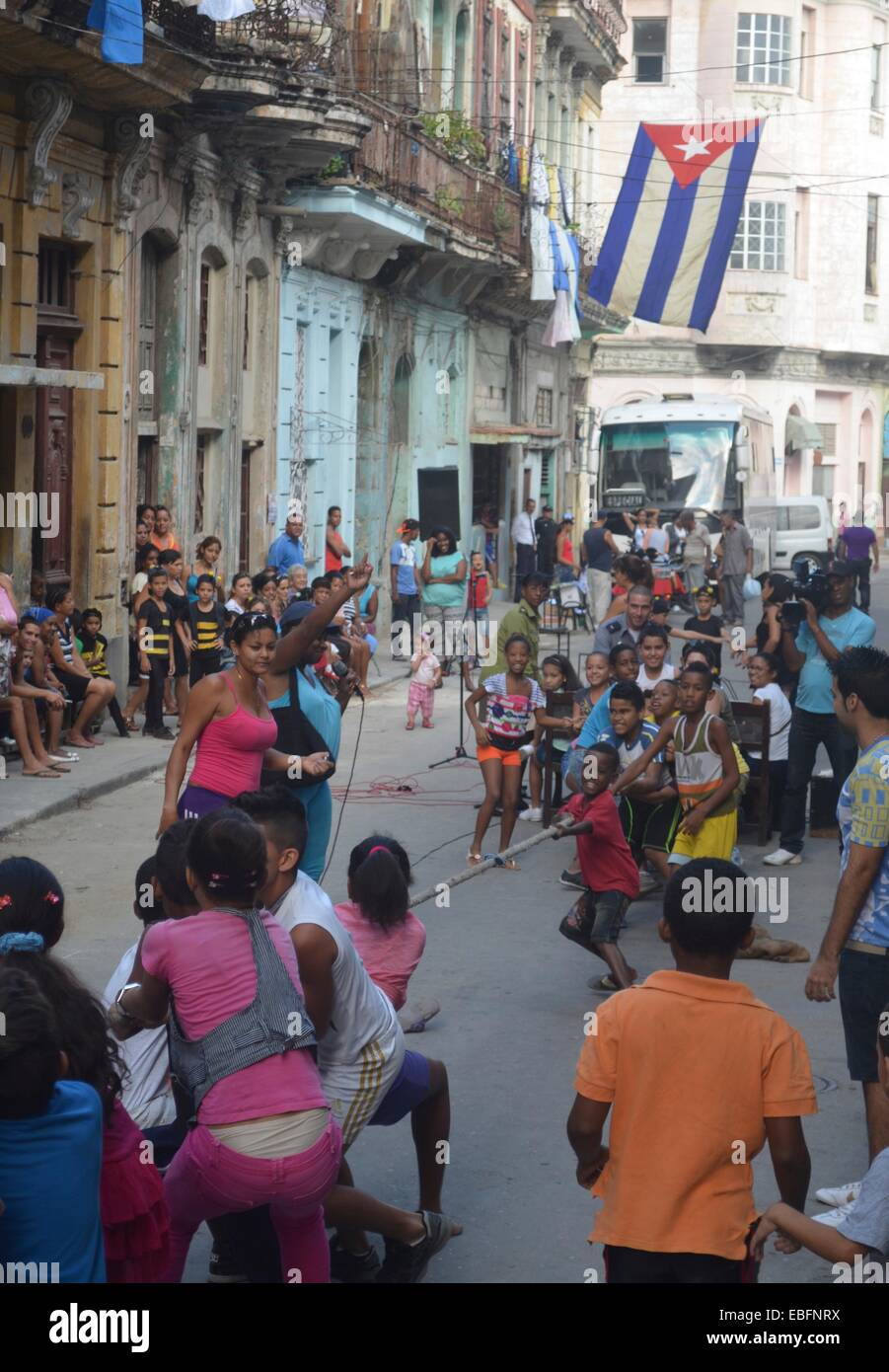 Children participate in a school sports day, on the streets of Centro Habana, Havana, Cuba - Stock Image