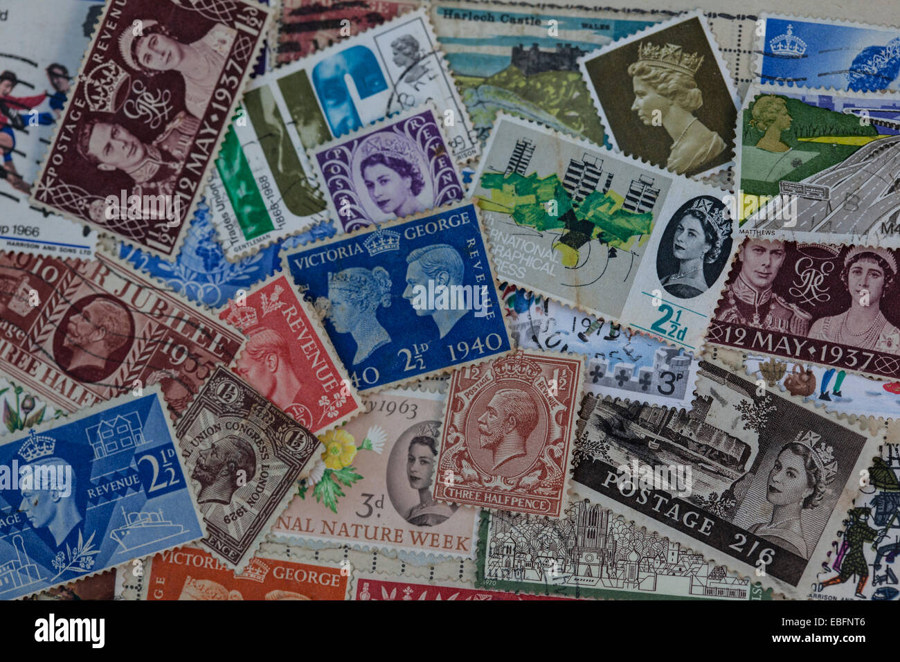 Old postage stamps - Stock Image