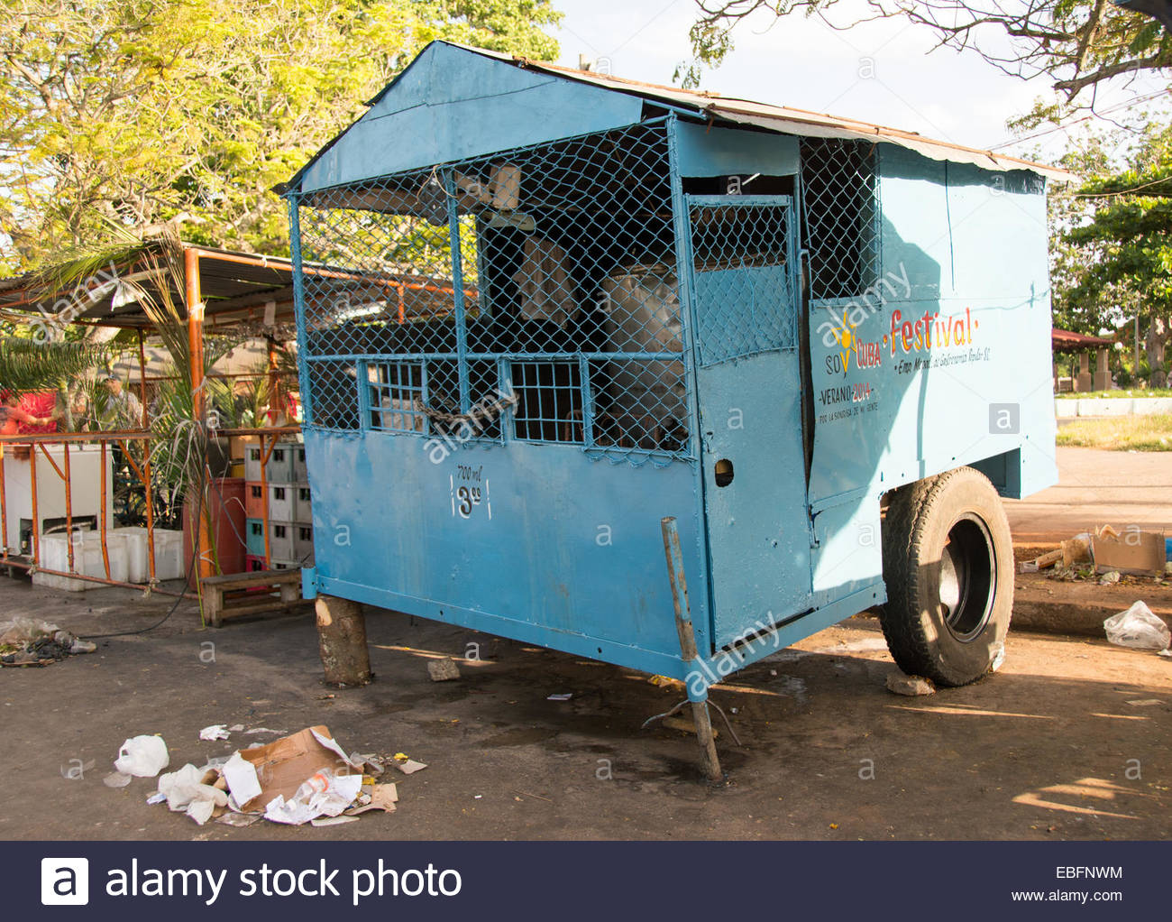 Draft beer car used in Cuban carnivals for selling the refreshing drink to partying people - Stock Image