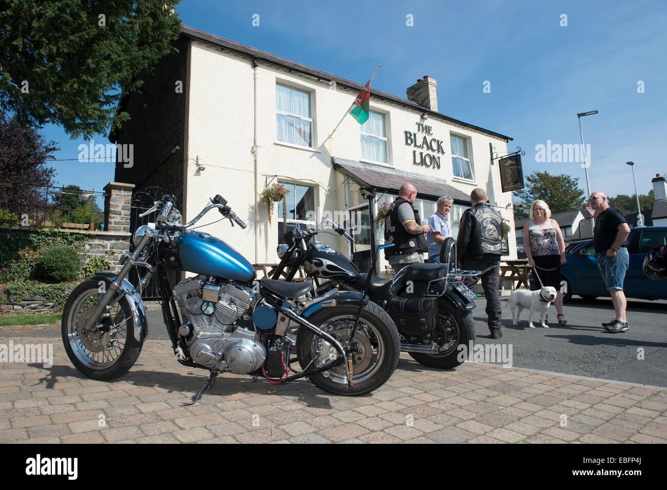 Black Lion pub, Llanbadarn Aberystwyth Wales UK, a village pub popular with motorcyclists bikers. - Stock Image