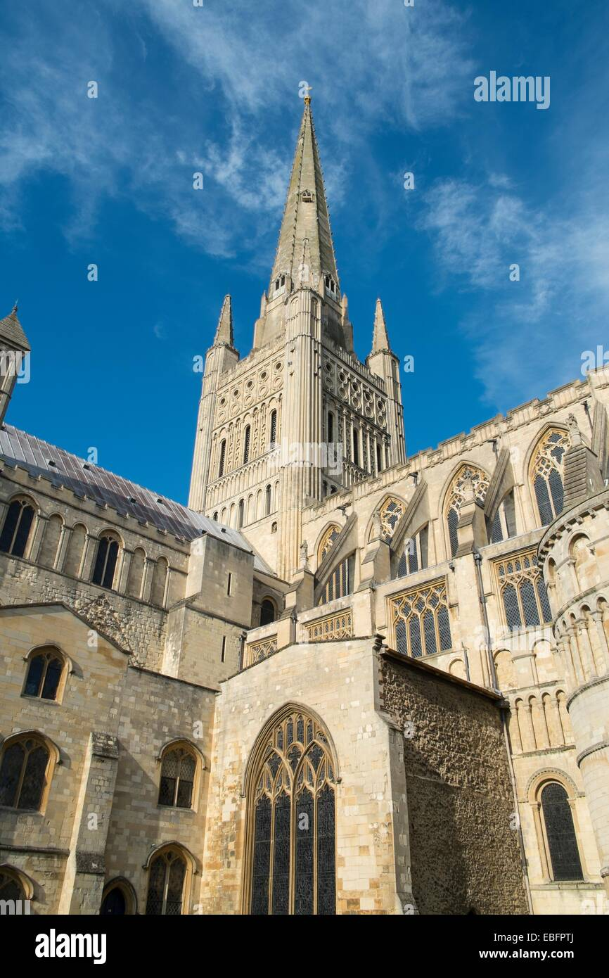 Norwich cathedral spire - Stock Image