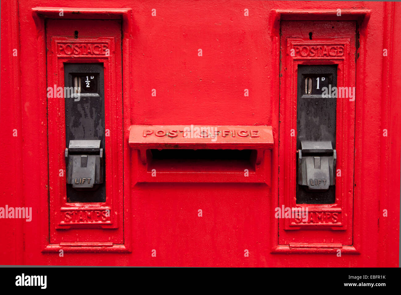 Old fashioned posting box box in use in the UK during the middle twentieth century - Stock Image