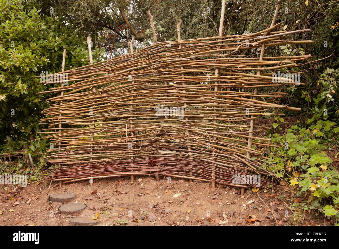 wattle fence example, Avoncroft Museum Bromsgrove Worcs UK - Stock Image
