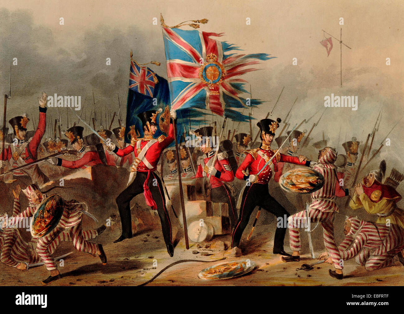 The 18th (Royal Irish) Regiment of Foot at the storming of the forts of Amoy, 26 August 1841 during the First Opium - Stock Image