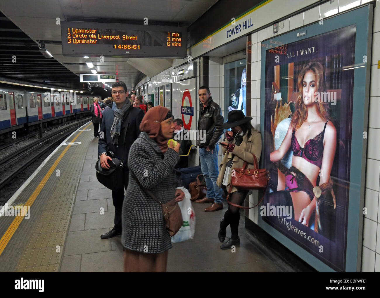 'All I want' poster for lingerie at Moorgate, London City Underground platform, England, UK Stock Photo