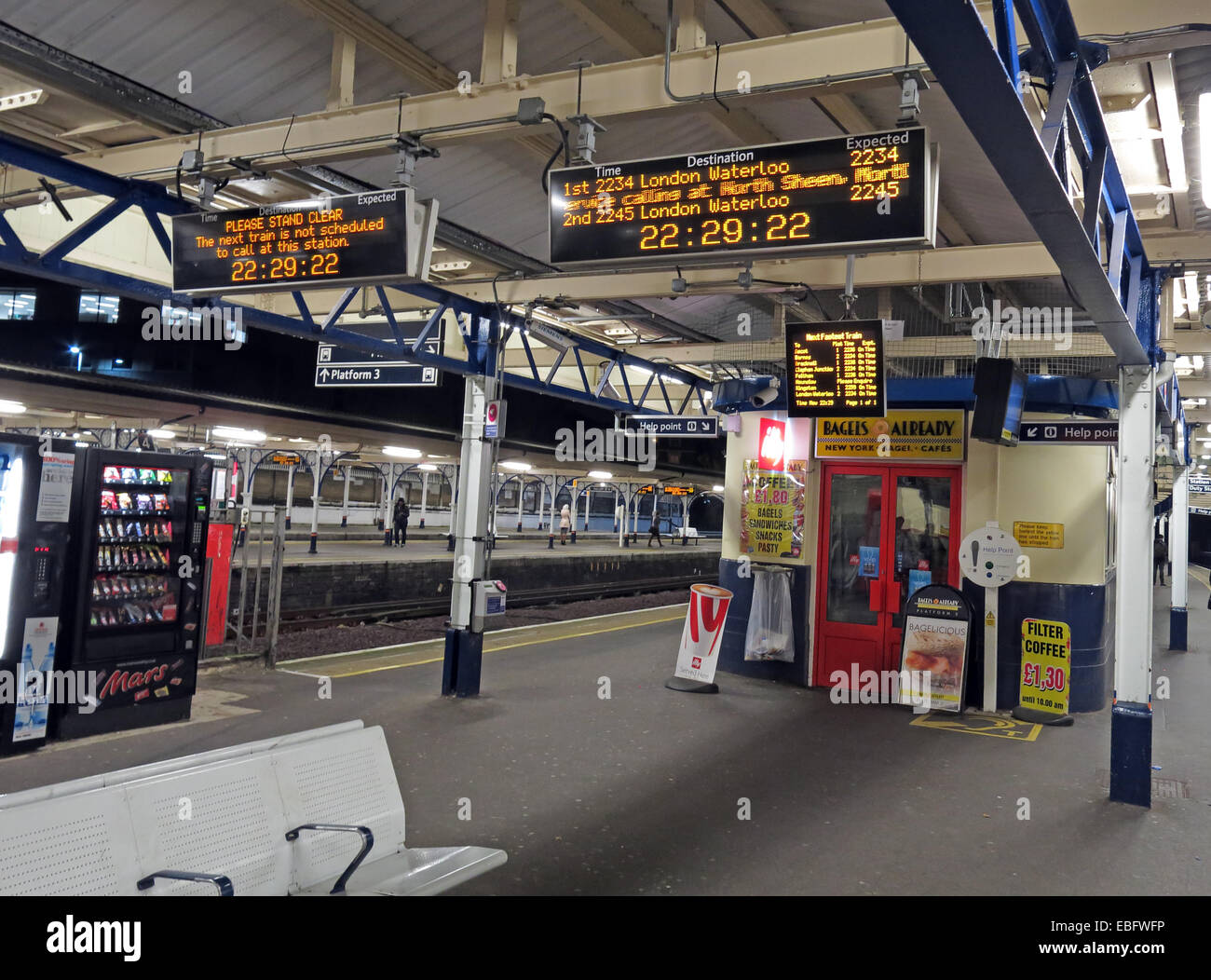 Night time panorama Richmond Railway Station London England UK - Stock Image