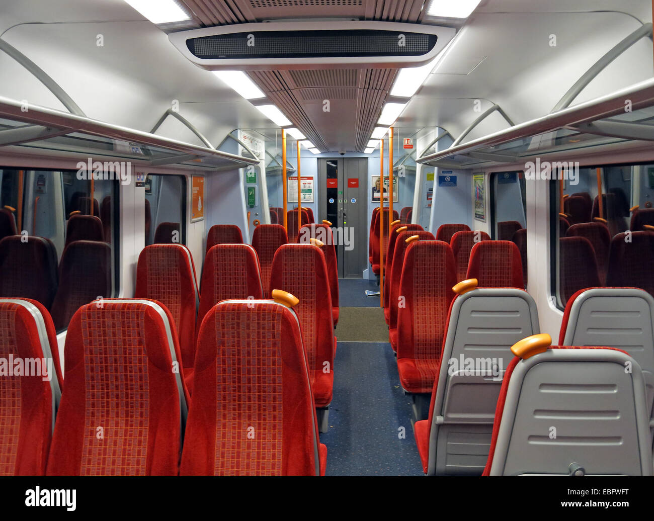 Empty SW Trains red livery carriage, Clapham Jc, London, England, UK - Stock Image